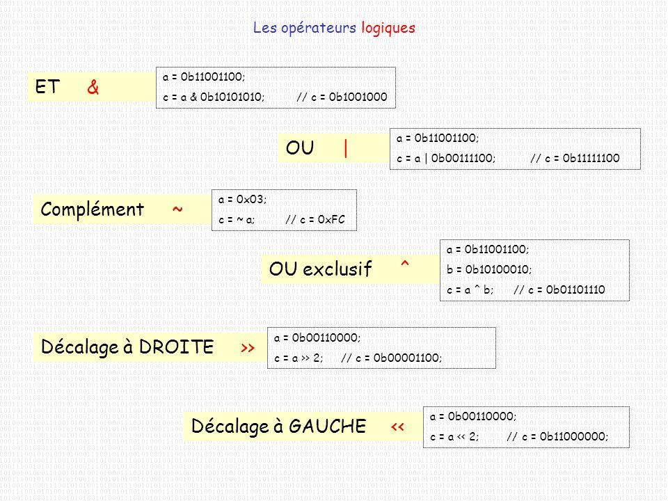 Les opérateurs logiques ET & a = 0b11001100; c = a & 0b10101010;// c = 0b1001000 OU   a = 0b11001100; c = a   0b00111100;// c = 0b11111100 Complément