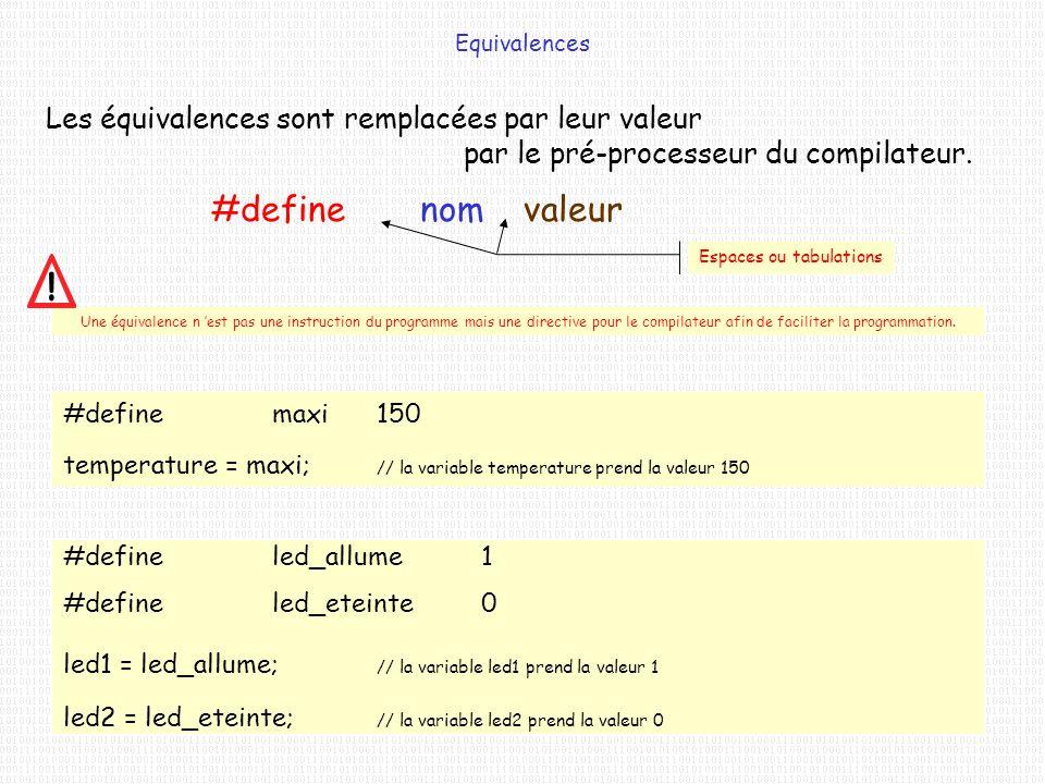 Une équivalence n est pas une instruction du programme mais une directive pour le compilateur afin de faciliter la programmation. Equivalences Les équ