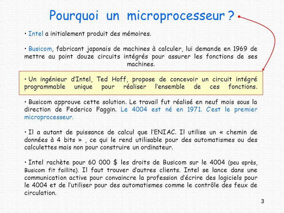 Pourquoi un microprocesseur ? Intel a initialement produit des mémoires. Busicom, fabricant japonais de machines à calculer, lui demande en 1969 de me
