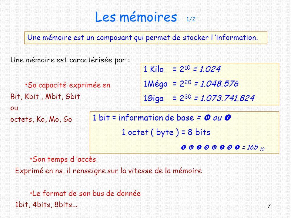 Les mémoires 1/2 Une mémoire est un composant qui permet de stocker l information. Une mémoire est caractérisée par : Sa capacité exprimée en Bit, Kbi
