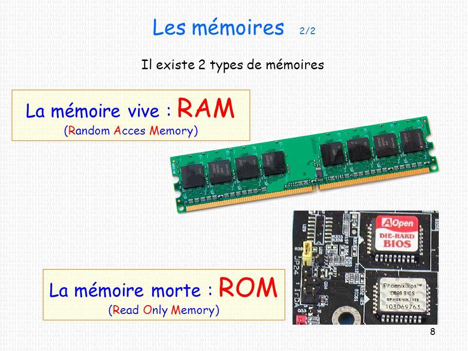 Les mémoires 2/2 La mémoire vive : RAM (Random Acces Memory) La mémoire morte : ROM (Read Only Memory) Il existe 2 types de mémoires 8
