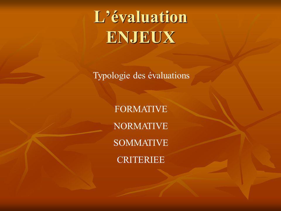 Lévaluation II - ENJEUX EVALUER : NOTER . ESTIMER .