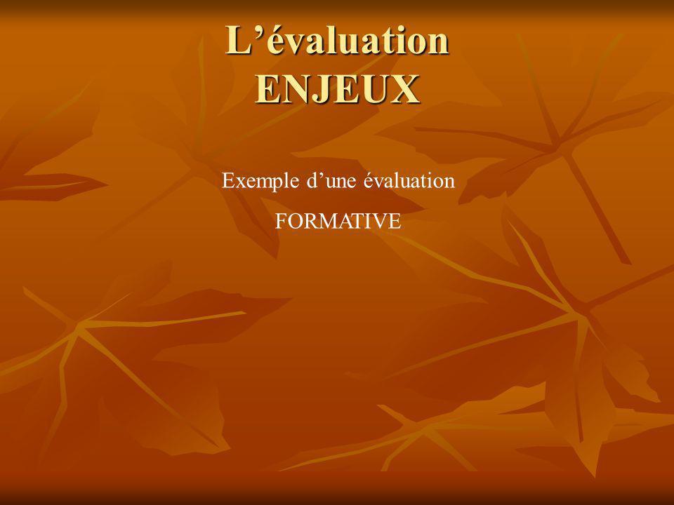 Lévaluation ENJEUX Typologie des évaluations FORMATIVE NORMATIVE SOMMATIVE CRITERIEE