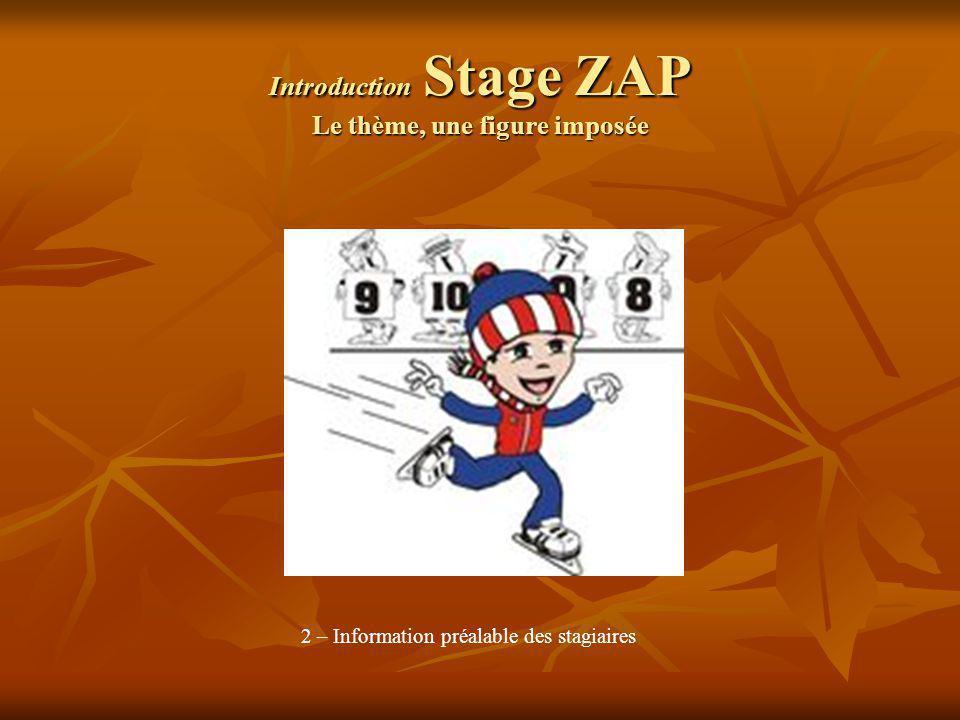 Introduction Stage ZAP Le thème, une figure imposée 2 – Information préalable des stagiaires