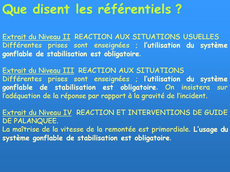 Extrait du Niveau II REACTION AUX SITUATIONS USUELLES Différentes prises sont enseignées ; lutilisation du système gonflable de stabilisation est obligatoire.