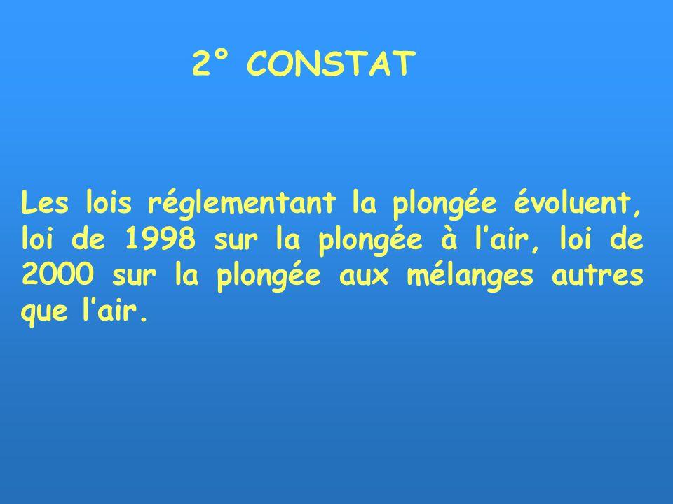 Les lois réglementant la plongée évoluent, loi de 1998 sur la plongée à lair, loi de 2000 sur la plongée aux mélanges autres que lair.