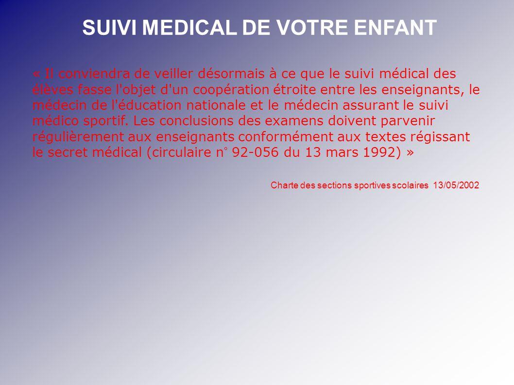 SUIVI MEDICAL DE VOTRE ENFANT « Il conviendra de veiller désormais à ce que le suivi médical des élèves fasse l'objet d'un coopération étroite entre l