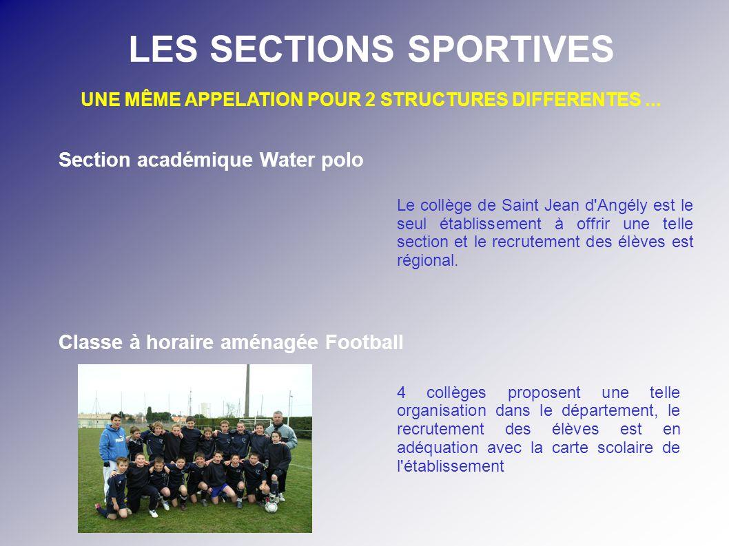 Le collège de Saint Jean d'Angély est le seul établissement à offrir une telle section et le recrutement des élèves est régional. 4 collèges proposent