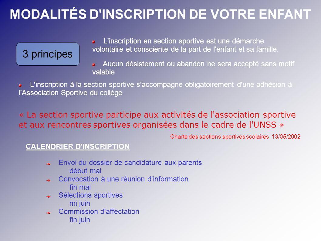 MODALITÉS D'INSCRIPTION DE VOTRE ENFANT 3 principes L'inscription en section sportive est une démarche volontaire et consciente de la part de l'enfant