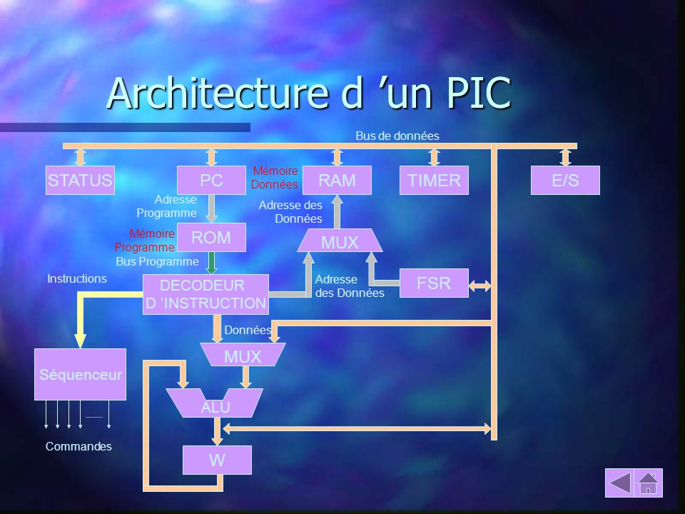 Architecture d un PIC FSR STATUSPCRAMTIMERE/S ROM DECODEUR D INSTRUCTION Séquenceur W ALU MUX Commandes Instructions Bus Programme Adresse Programme B
