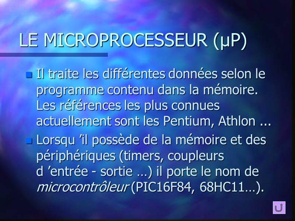 LE MICROPROCESSEUR (µP) n Il traite les différentes données selon le programme contenu dans la mémoire. Les références les plus connues actuellement s