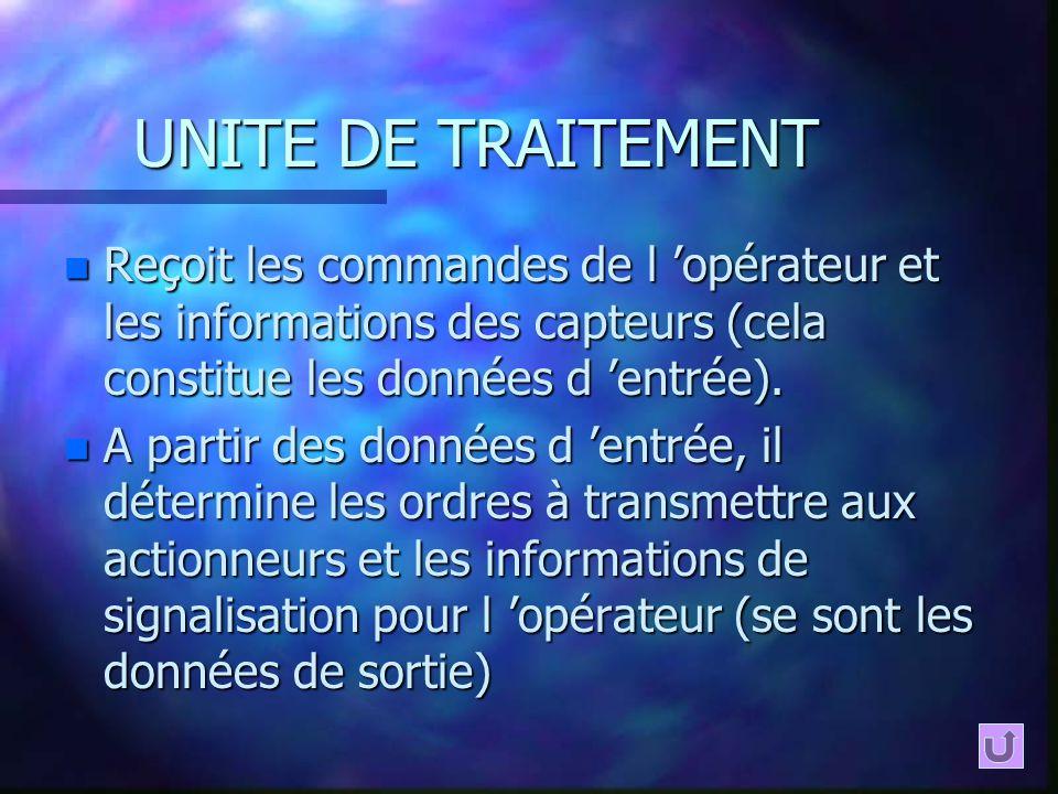 UNITE DE TRAITEMENT n Reçoit les commandes de l opérateur et les informations des capteurs (cela constitue les données d entrée). n A partir des donné