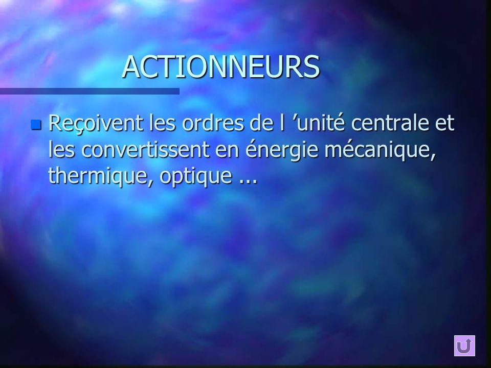 ACTIONNEURS n Reçoivent les ordres de l unité centrale et les convertissent en énergie mécanique, thermique, optique...