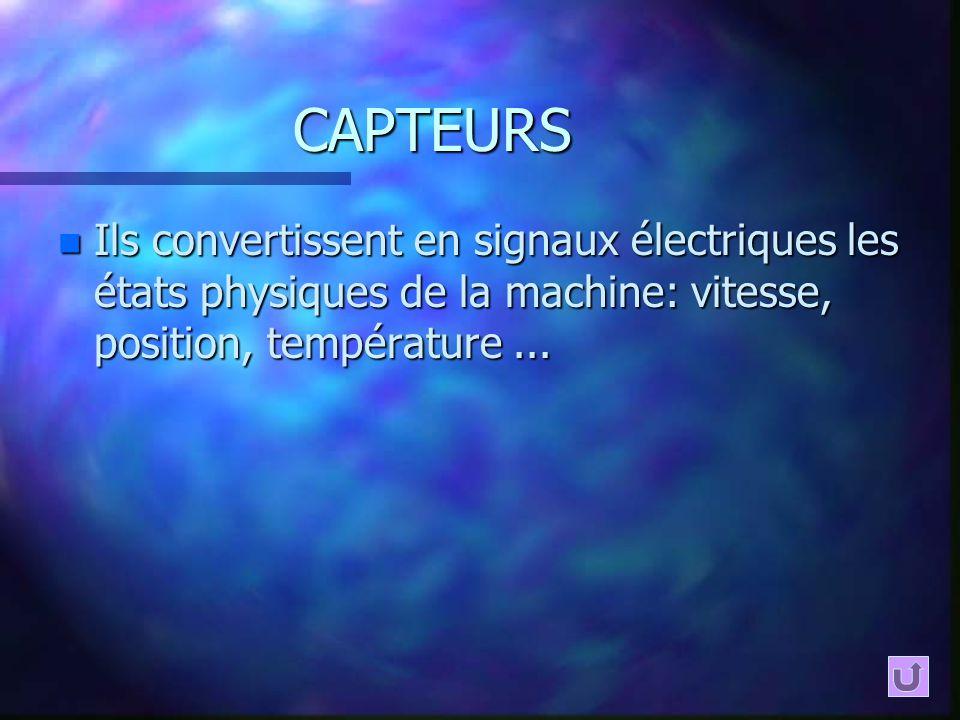 CAPTEURS n Ils convertissent en signaux électriques les états physiques de la machine: vitesse, position, température...