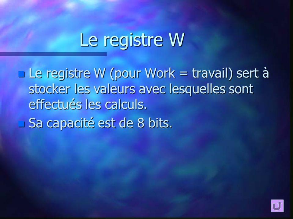 Le registre W n Le registre W (pour Work = travail) sert à stocker les valeurs avec lesquelles sont effectués les calculs. n Sa capacité est de 8 bits