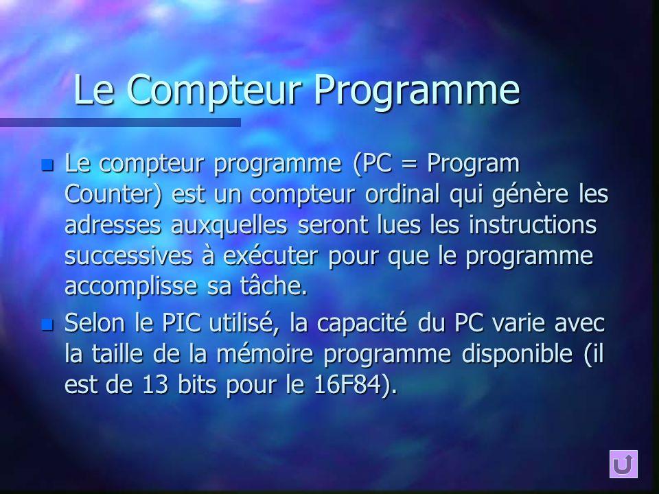 Le Compteur Programme n Le compteur programme (PC = Program Counter) est un compteur ordinal qui génère les adresses auxquelles seront lues les instru