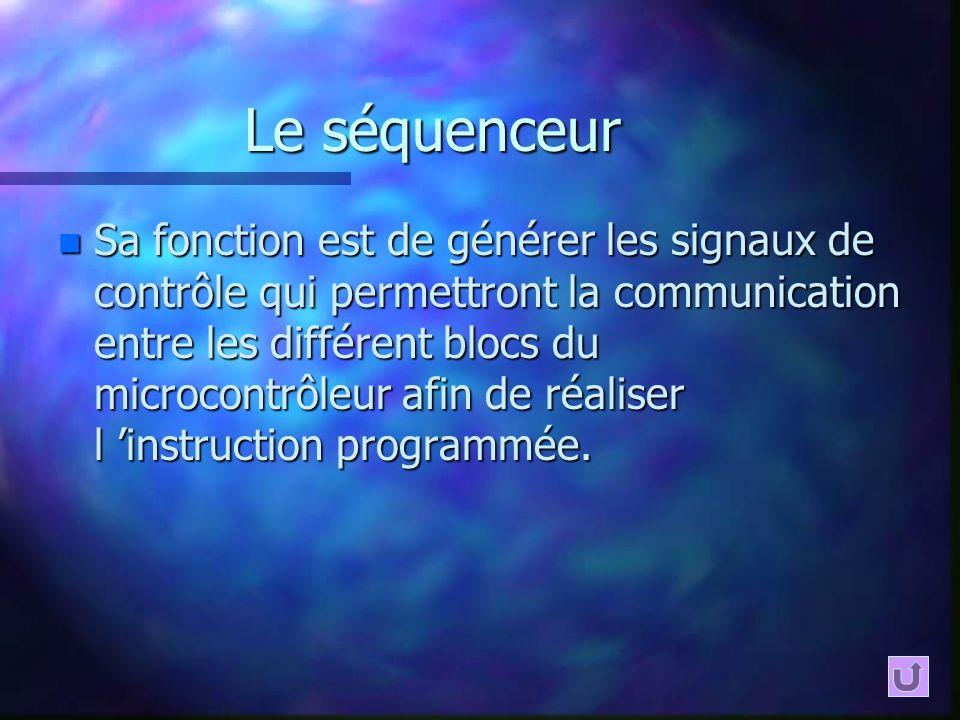 Le séquenceur n Sa fonction est de générer les signaux de contrôle qui permettront la communication entre les différent blocs du microcontrôleur afin