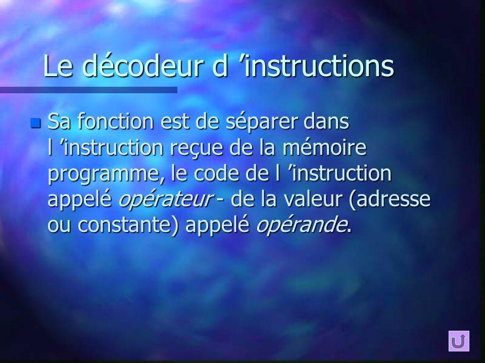 Le décodeur d instructions n Sa fonction est de séparer dans l instruction reçue de la mémoire programme, le code de l instruction appelé opérateur -