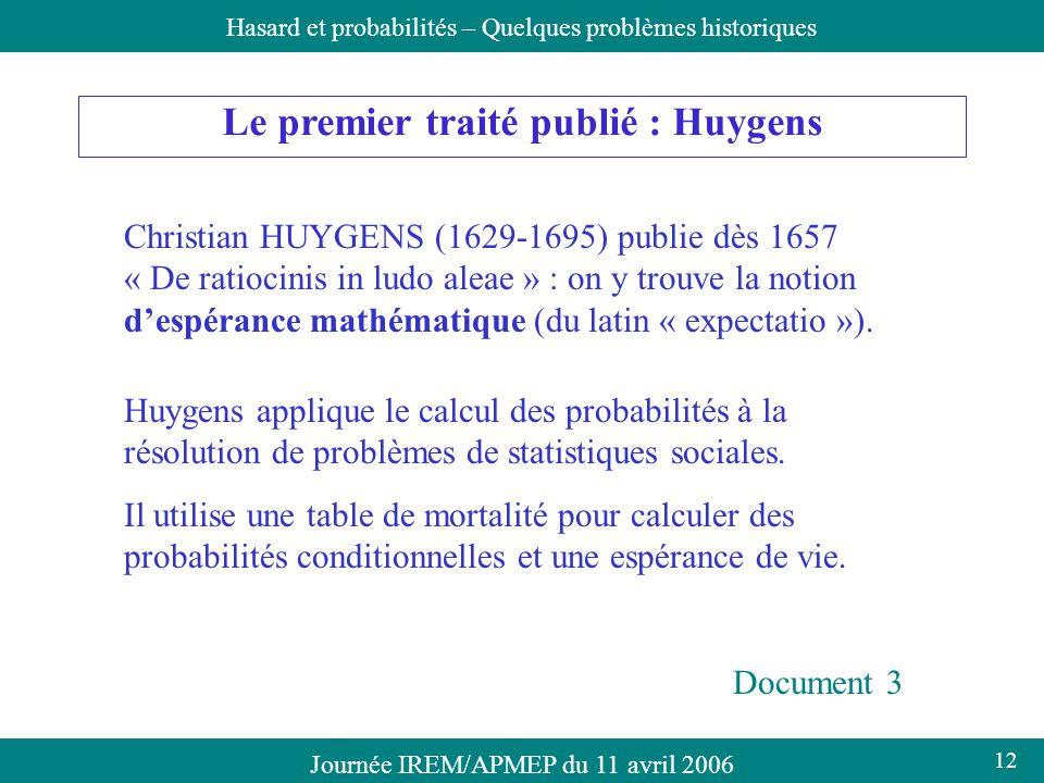 Journée IREM/APMEP du 11 avril 2006Hasard et probabilités – Quelques problèmes historiques Le premier traité publié : Huygens Christian HUYGENS (1629-