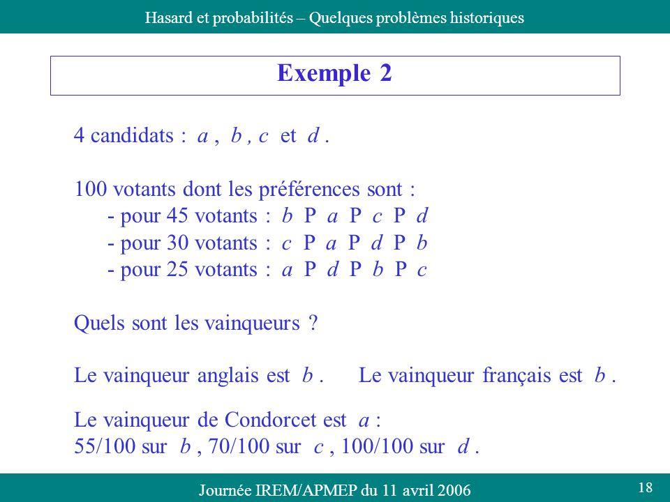 Journée IREM/APMEP du 11 avril 2006Hasard et probabilités – Quelques problèmes historiques Exemple 2 4 candidats : a, b, c et d. 100 votants dont les