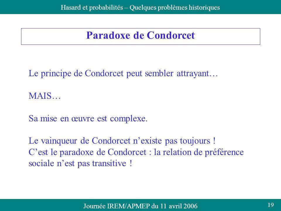 Journée IREM/APMEP du 11 avril 2006Hasard et probabilités – Quelques problèmes historiques Paradoxe de Condorcet Le principe de Condorcet peut sembler