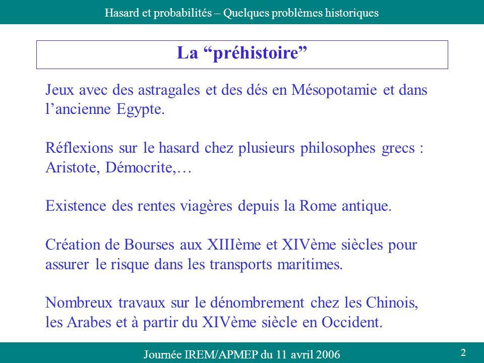 Journée IREM/APMEP du 11 avril 2006Hasard et probabilités – Quelques problèmes historiques La préhistoire Jeux avec des astragales et des dés en Mésop