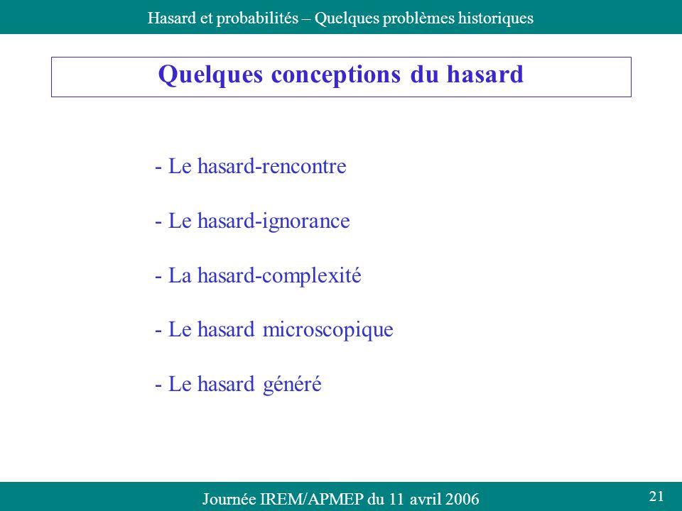 Journée IREM/APMEP du 11 avril 2006Hasard et probabilités – Quelques problèmes historiques Quelques conceptions du hasard - Le hasard-rencontre - Le h