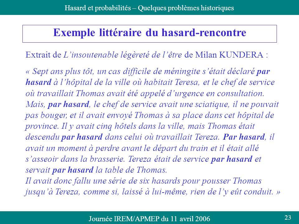 Journée IREM/APMEP du 11 avril 2006Hasard et probabilités – Quelques problèmes historiques Exemple littéraire du hasard-rencontre Extrait de Linsouten