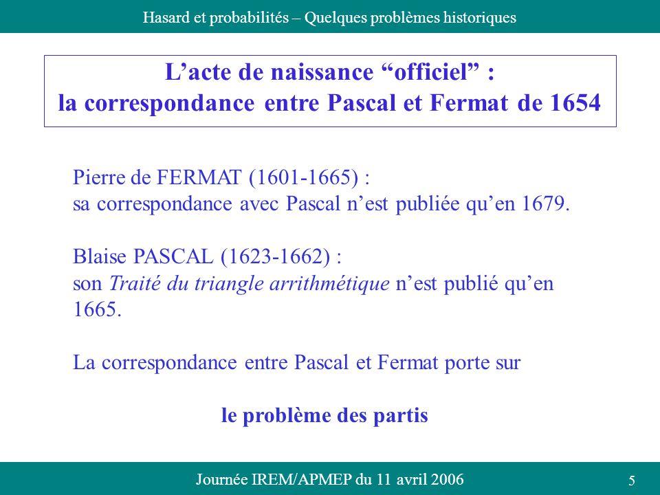 Journée IREM/APMEP du 11 avril 2006Hasard et probabilités – Quelques problèmes historiques Lacte de naissance officiel : la correspondance entre Pasca