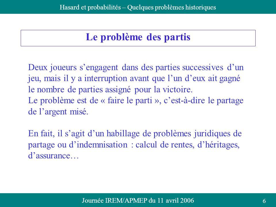 Journée IREM/APMEP du 11 avril 2006Hasard et probabilités – Quelques problèmes historiques Le problème des partis Deux joueurs sengagent dans des part
