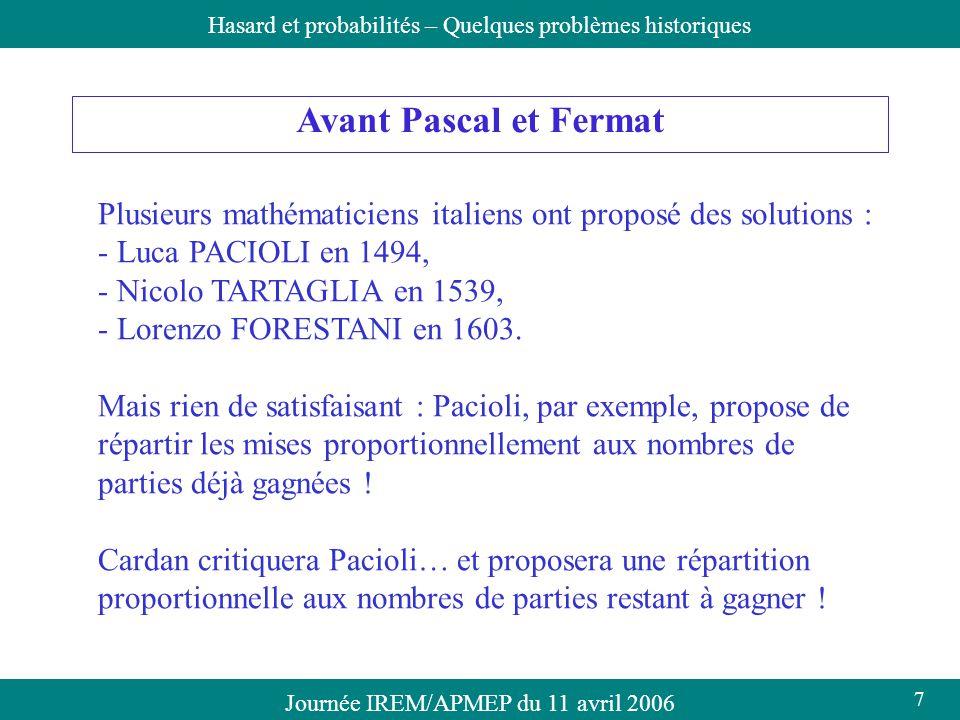 Journée IREM/APMEP du 11 avril 2006Hasard et probabilités – Quelques problèmes historiques Avant Pascal et Fermat Plusieurs mathématiciens italiens on