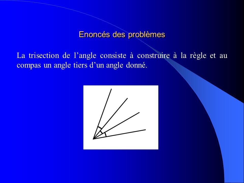 Enoncés des problèmes La trisection de langle consiste à construire à la règle et au compas un angle tiers dun angle donné.