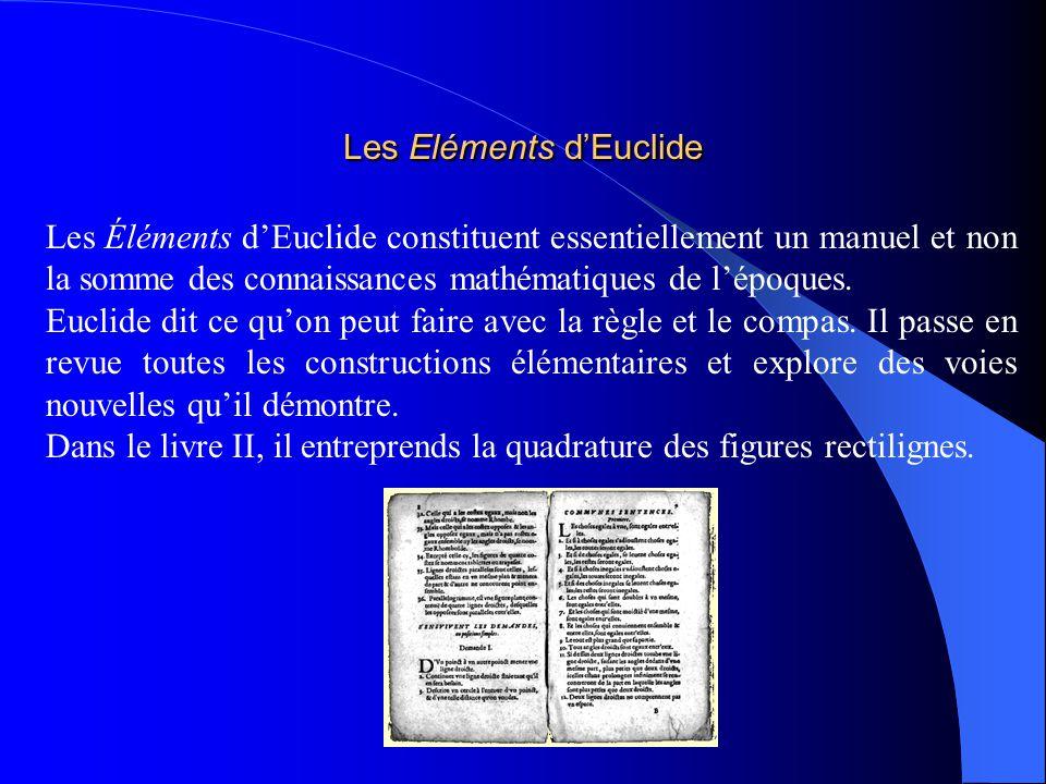 Les Éléments dEuclide constituent essentiellement un manuel et non la somme des connaissances mathématiques de lépoques. Euclide dit ce quon peut fair