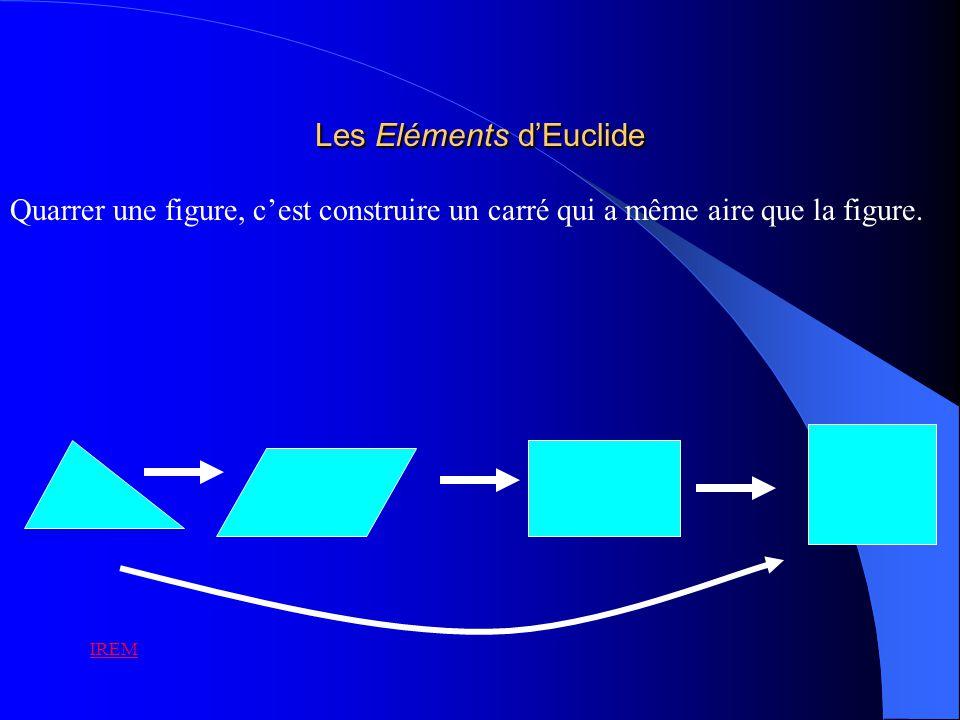 Les Eléments dEuclide Quarrer une figure, cest construire un carré qui a même aire que la figure. IREM