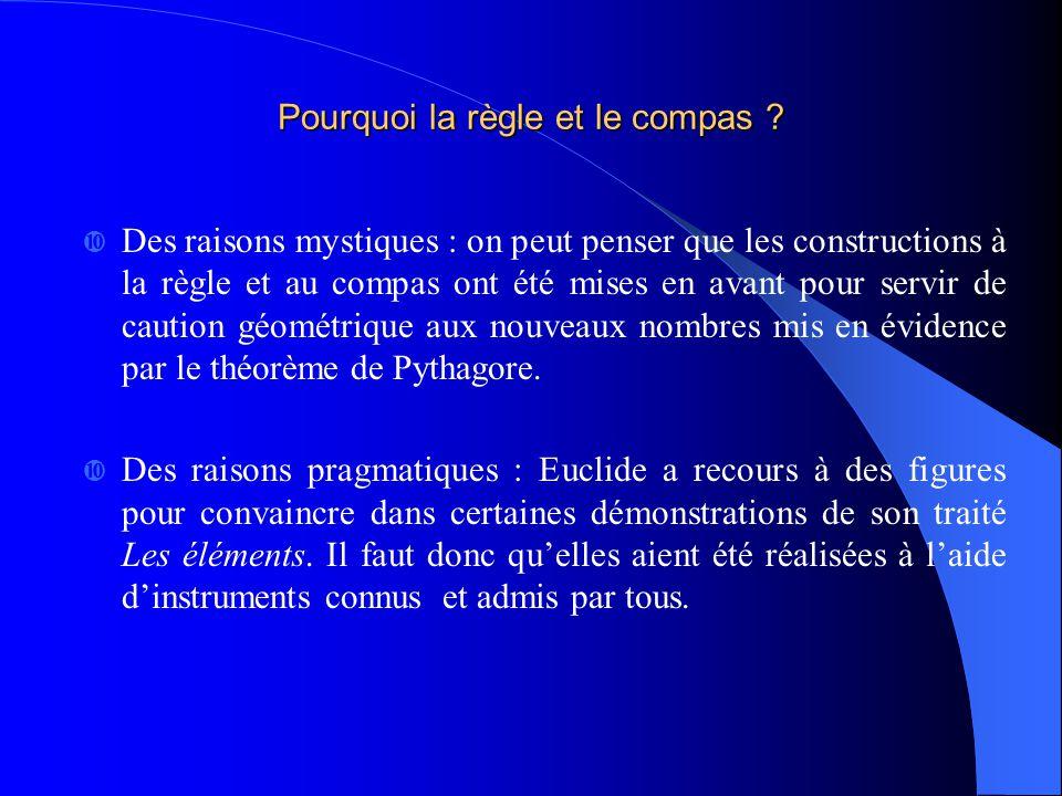 Pourquoi la règle et le compas ? Des raisons mystiques : on peut penser que les constructions à la règle et au compas ont été mises en avant pour serv