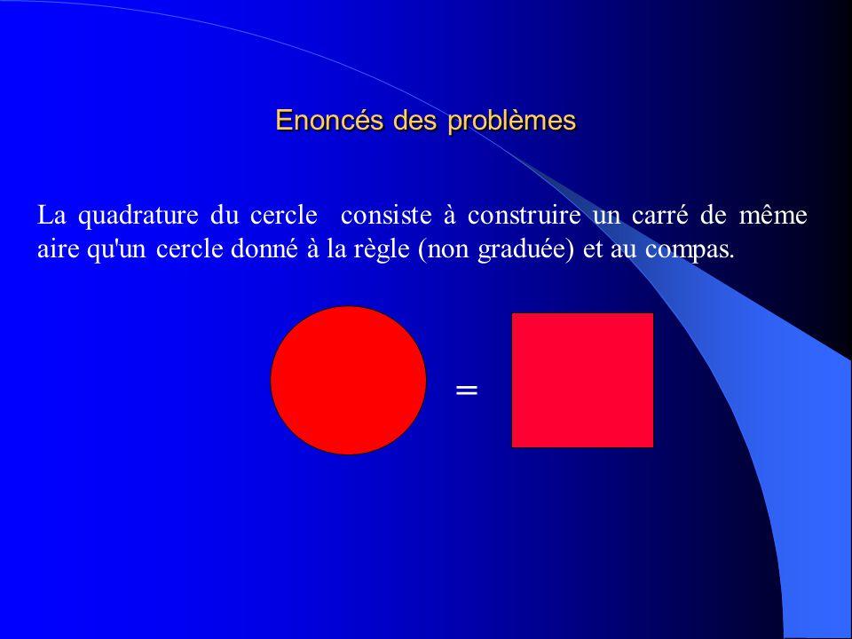 Enoncés des problèmes La quadrature du cercle consiste à construire un carré de même aire qu'un cercle donné à la règle (non graduée) et au compas. =