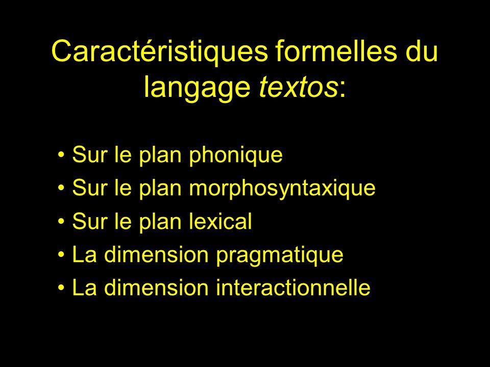 Caractéristiques formelles du langage textos: Sur le plan phonique Sur le plan morphosyntaxique Sur le plan lexical La dimension pragmatique La dimension interactionnelle
