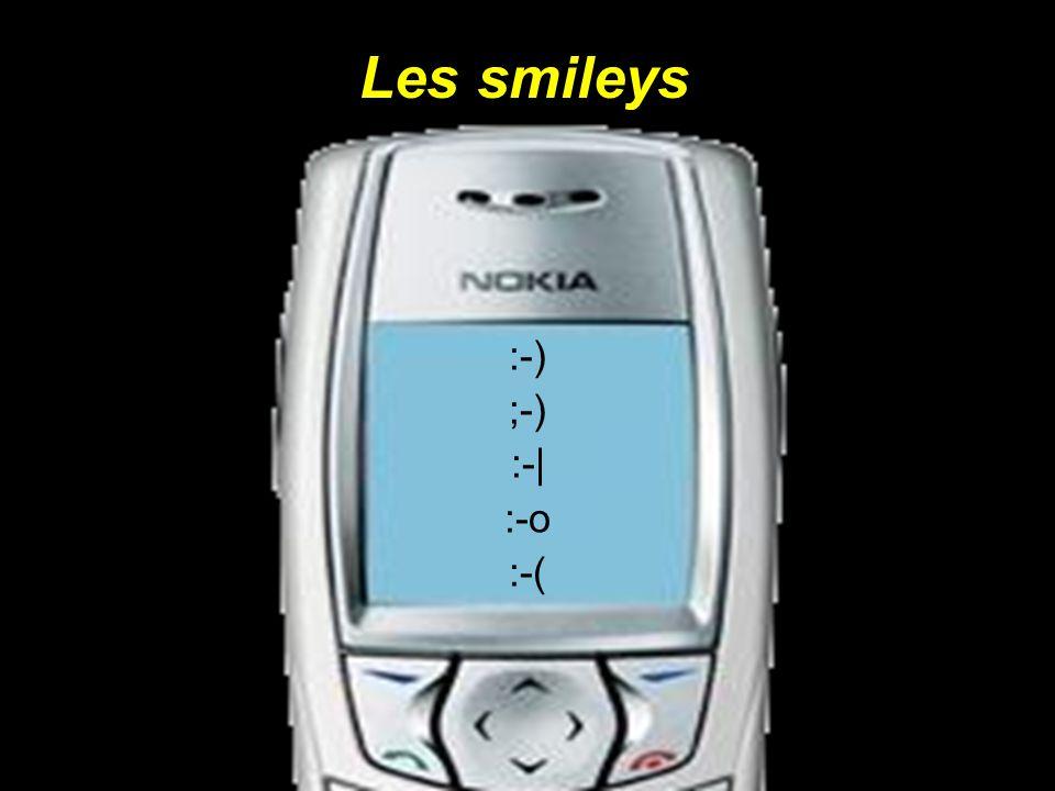 Les smileys :-) ;-) :-  :-o :-(