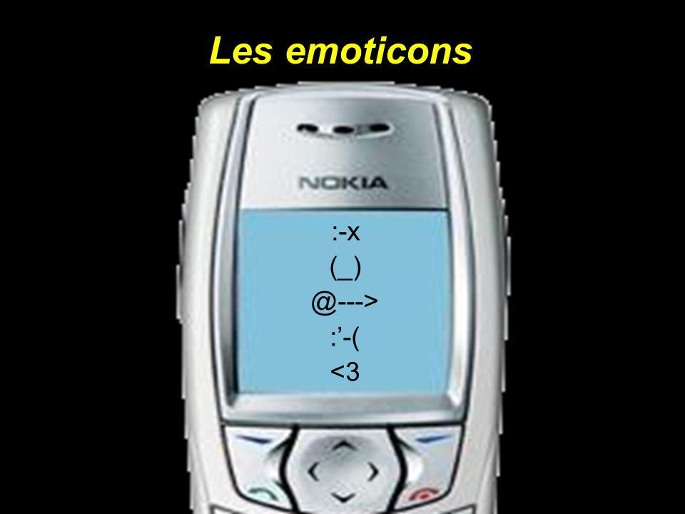 Les emoticons :-x (_) @---> :-( <3