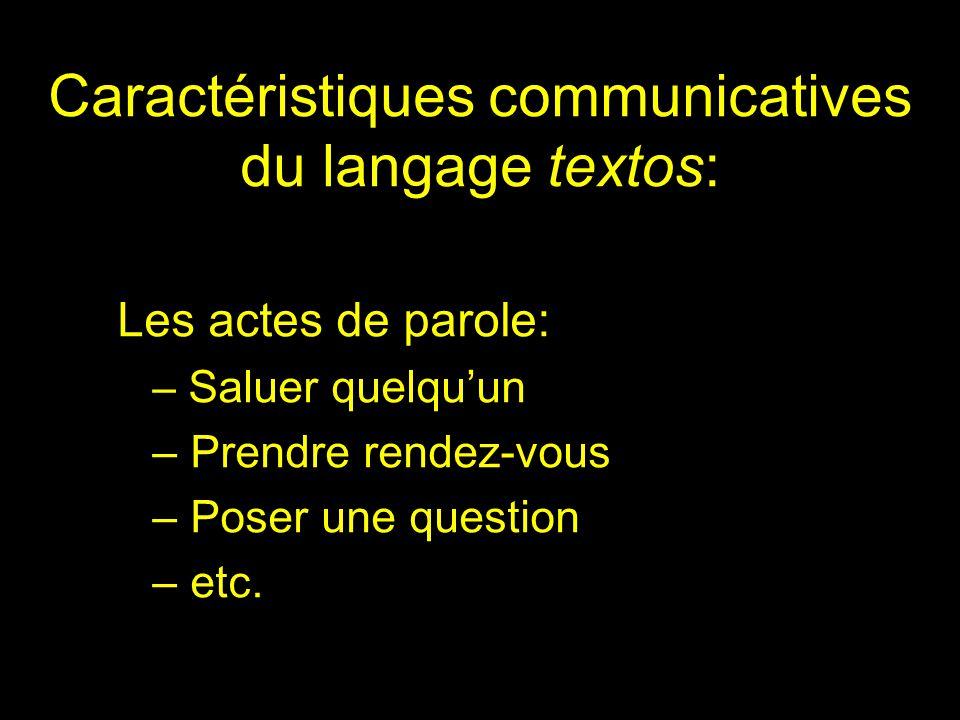 Caractéristiques communicatives du langage textos: Les actes de parole: – Saluer quelquun – Prendre rendez-vous – Poser une question – etc.