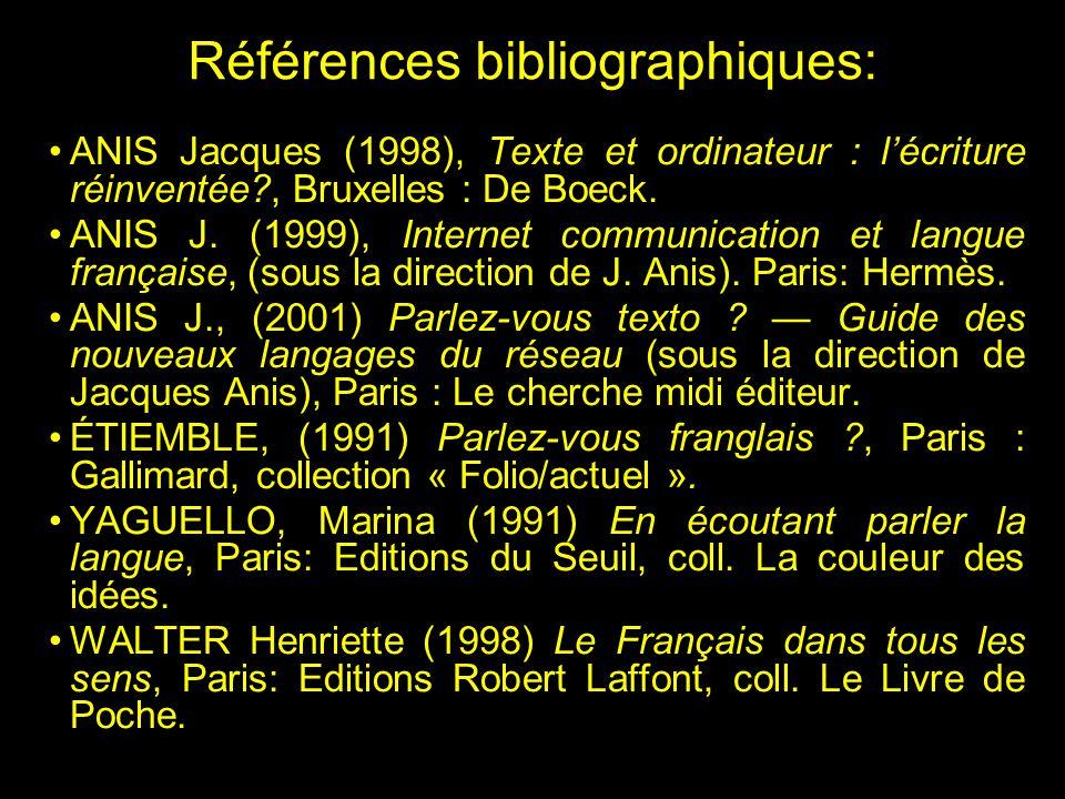 Références bibliographiques: ANIS Jacques (1998), Texte et ordinateur : lécriture réinventée?, Bruxelles : De Boeck.