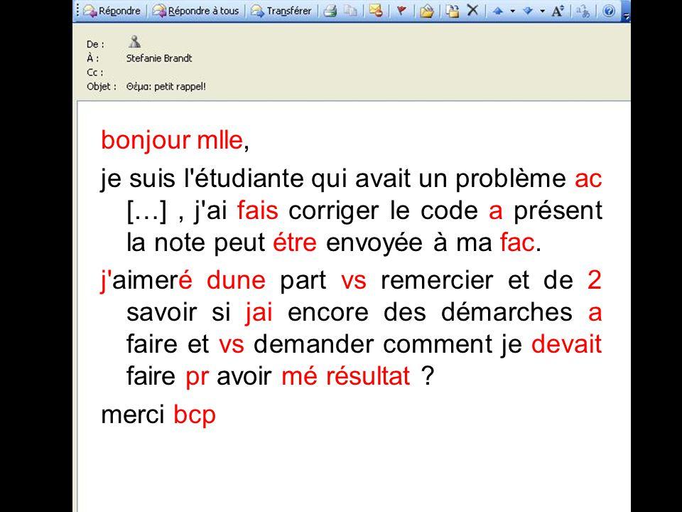 bonjour mlle, je suis l étudiante qui avait un problème ac […], j ai fais corriger le code a présent la note peut étre envoyée à ma fac.