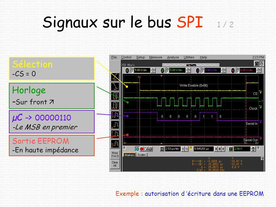 Signaux sur le bus SPI 1 / 2 Exemple : autorisation d écriture dans une EEPROM Sélection -CS = 0 Horloge - Sur front µC -> 00000110 -Le MSB en premier