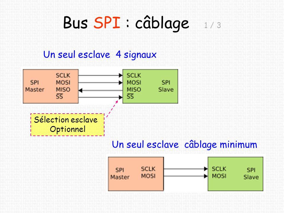 Bus SPI : câblage 2 / 3 Plusieurs esclaves Signaux du bus 3 esclaves = 3 signaux de sélection (SS = Slave Select) Un seul esclave actif à la fois