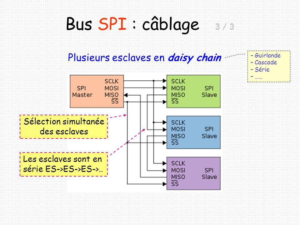 Bus SPI : câblage 3 / 3 Plusieurs esclaves en daisy chain – Guirlande – Cascade – Série – …… Sélection simultanée des esclaves Les esclaves sont en sé