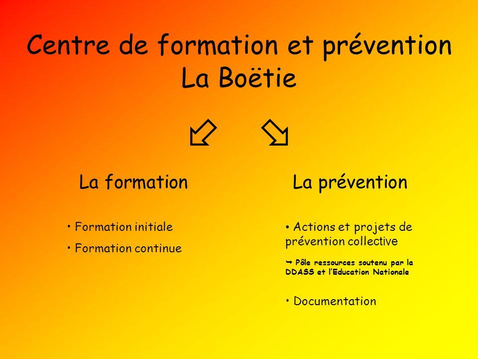 Centre de formation et prévention La formationLa prévention Formation initiale Formation continue Actions et projets de prévention colle ctive Pôle re
