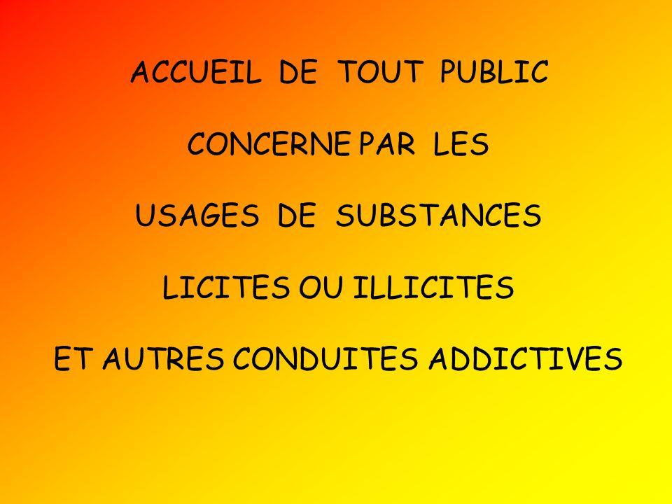 ACCUEIL DE TOUT PUBLIC CONCERNE PAR LES USAGES DE SUBSTANCES LICITES OU ILLICITES ET AUTRES CONDUITES ADDICTIVES