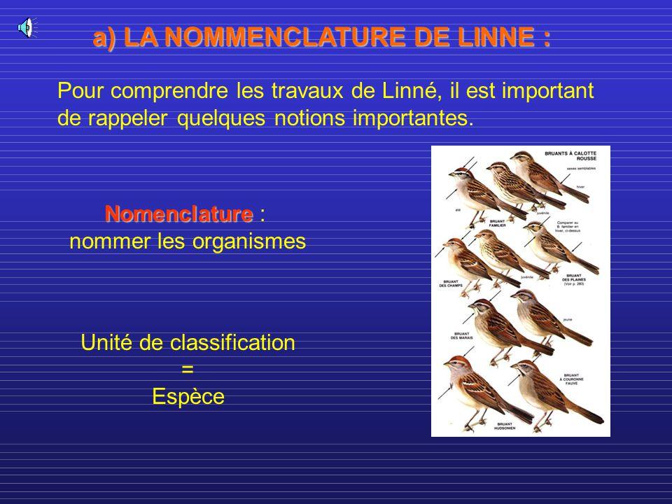 a) LA NOMMENCLATURE DE LINNE : Pour comprendre les travaux de Linné, il est important de rappeler quelques notions importantes. Nomenclature Nomenclat