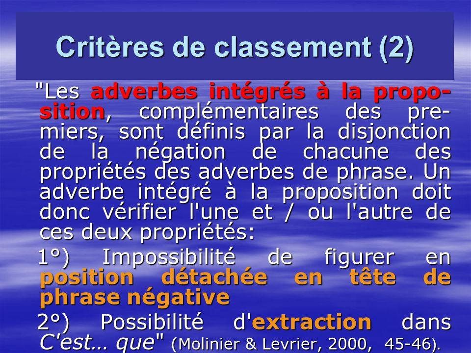 Critères de classement (2) Les adverbes intégrés à la propo- sition, complémentaires des pre- miers, sont définis par la disjonction de la négation de chacune des propriétés des adverbes de phrase.