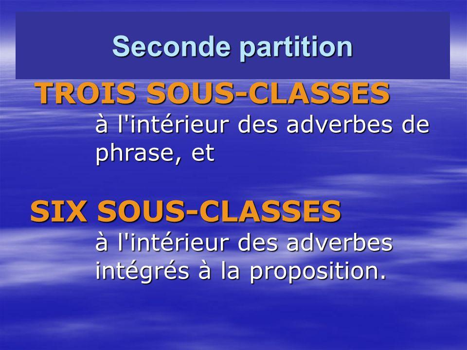 Seconde partition TROIS SOUS-CLASSES TROIS SOUS-CLASSES à l intérieur des adverbes de à l intérieur des adverbes de phrase, et phrase, et SIX SOUS-CLASSES SIX SOUS-CLASSES à l intérieur des adverbes à l intérieur des adverbes intégrés à la proposition.